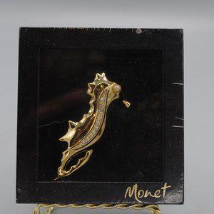 NIB Vintage Retro Seahorse Pin Brooch Pearl Gold